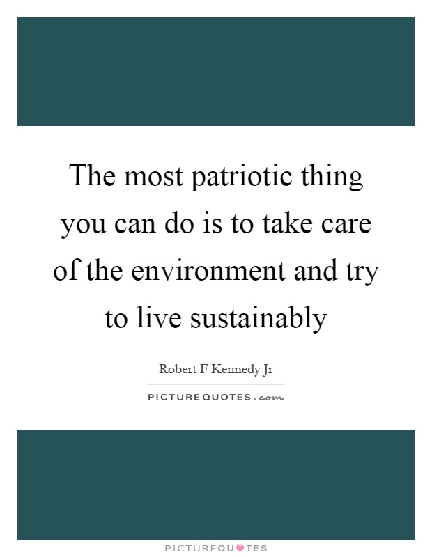 The most patriotic thing you can do is to take care of the environment and try to live sustainably Picture Quote #1