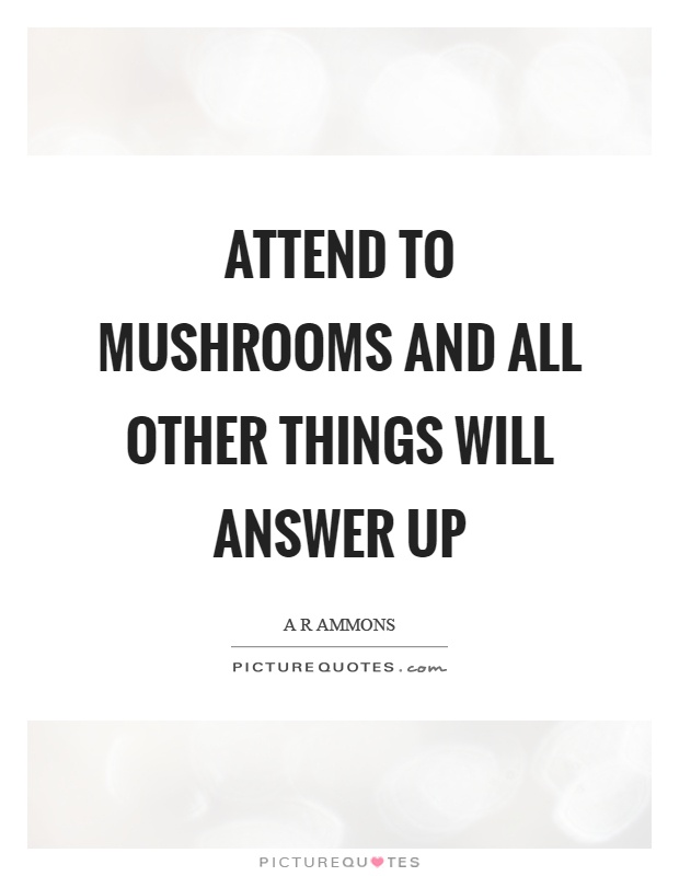 Attend to mushrooms and all other things will answer up Picture Quote #1