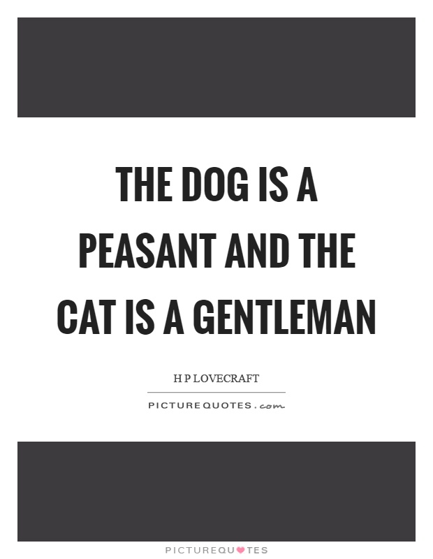 The dog is a peasant and the cat is a gentleman Picture Quote #1