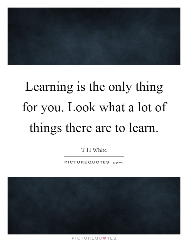 Learning is the only thing for you. Look what a lot of things there are to learn Picture Quote #1