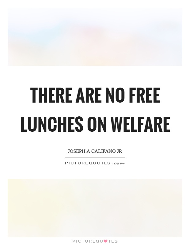 There are no free lunches on welfare Picture Quote #1