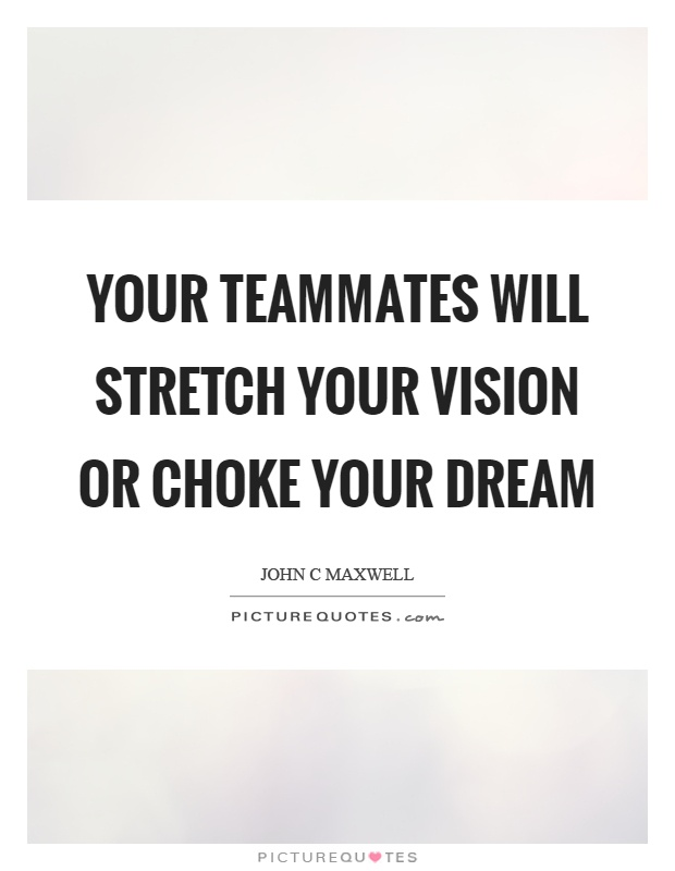 Your teammates will stretch your vision or choke your dream Picture Quote #1