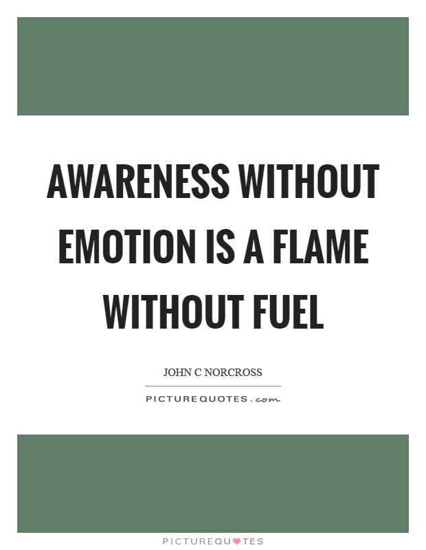 Awareness without emotion is a flame without fuel Picture Quote #1