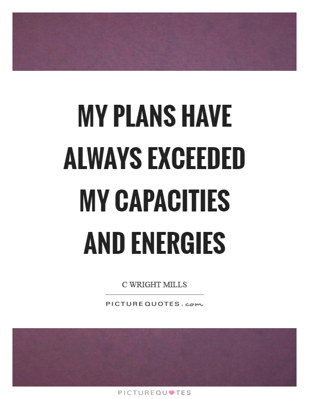 My plans have always exceeded my capacities and energies Picture Quote #1