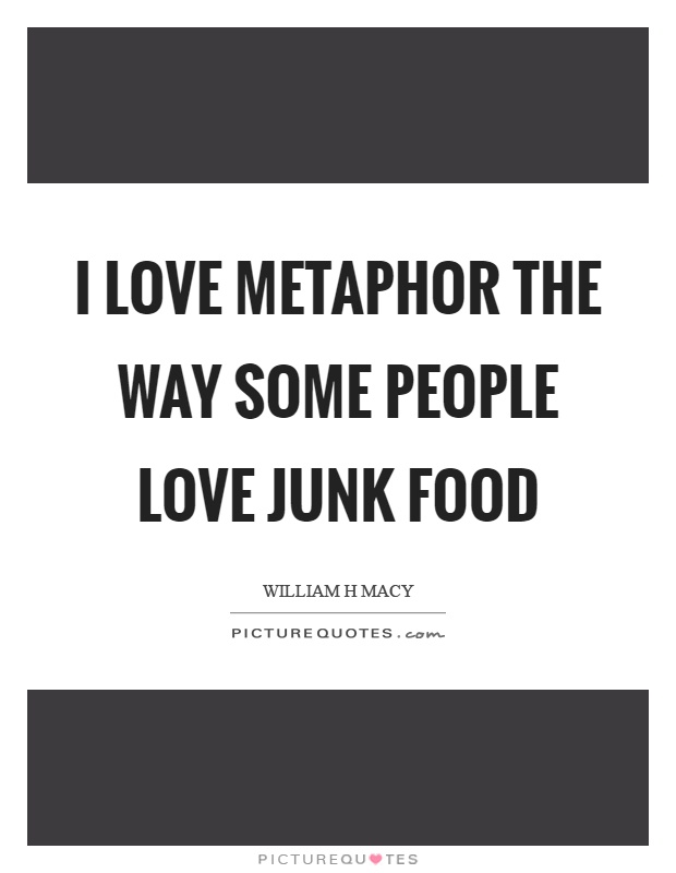 I love metaphor the way some people love junk food Picture Quote #1