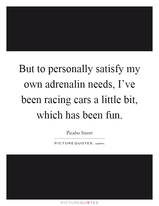 But to personally satisfy my own adrenalin needs, I've been racing cars a little bit, which has been fun Picture Quote #1
