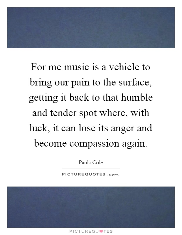 For me music is a vehicle to bring our pain to the surface, getting it back to that humble and tender spot where, with luck, it can lose its anger and become compassion again Picture Quote #1