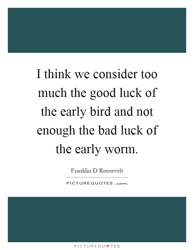 I think we consider too much the good luck of the early bird and not enough the bad luck of the early worm Picture Quote #1
