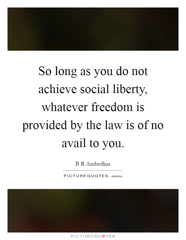 So long as you do not achieve social liberty, whatever freedom is provided by the law is of no avail to you Picture Quote #1