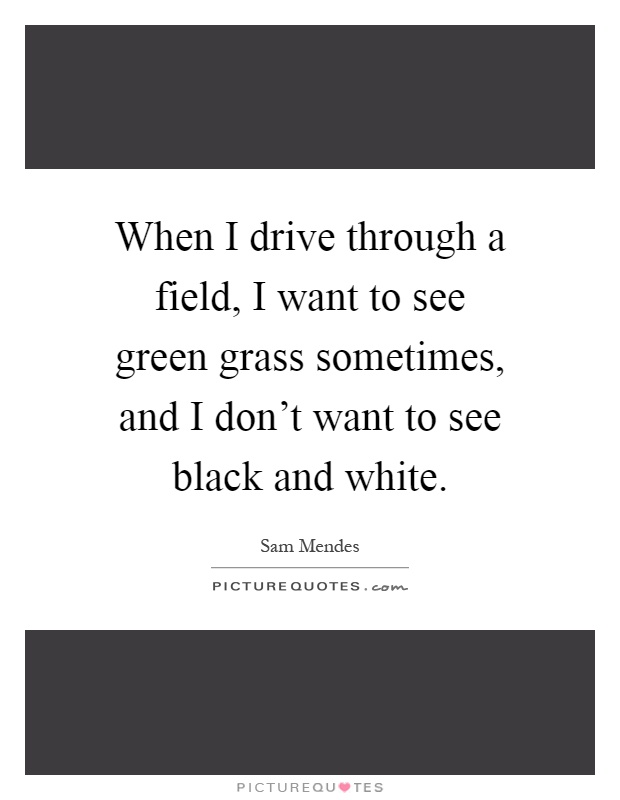 When I drive through a field, I want to see green grass sometimes, and I don't want to see black and white Picture Quote #1