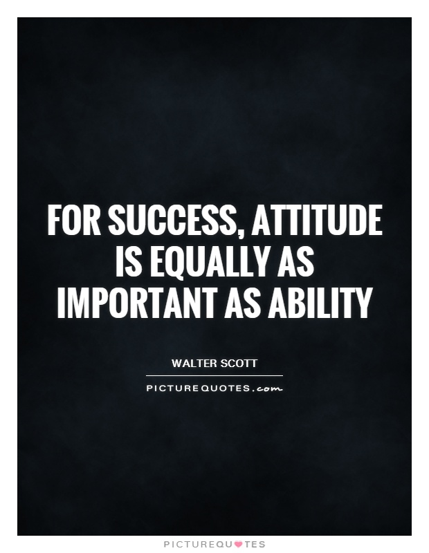 For success, attitude is equally as important as ability Picture Quote #1