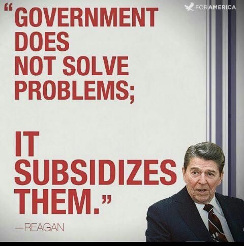 Government does not solve problems; it subsidizes them Picture Quote #2
