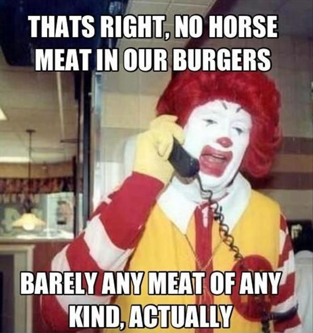 That's right, no horse meat in our burgers - barely any meat of any kind actually Picture Quote #1