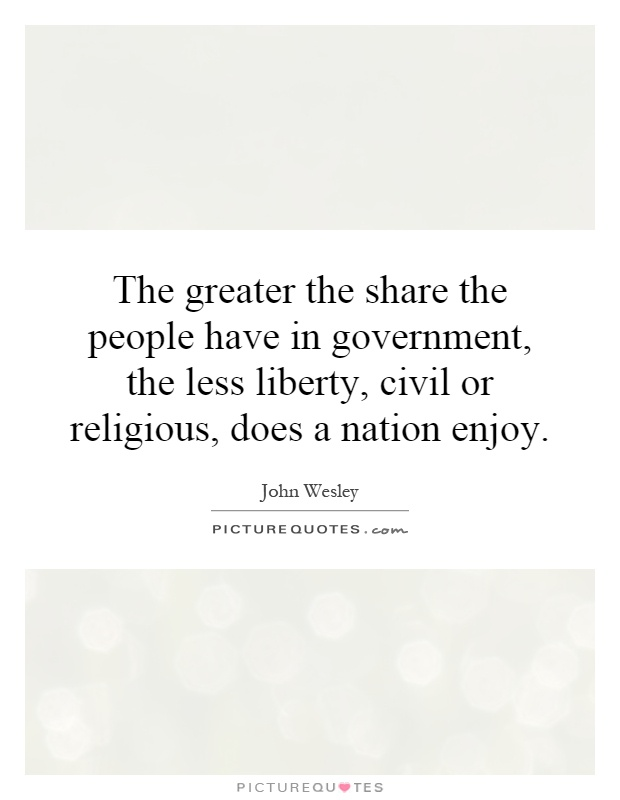 The greater the share the people have in government, the less liberty, civil or religious, does a nation enjoy Picture Quote #1
