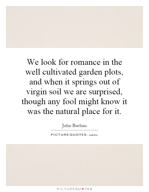We look for romance in the well cultivated garden plots, and when it springs out of virgin soil we are surprised, though any fool might know it was the natural place for it Picture Quote #1