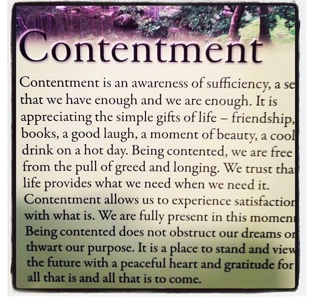 Contentment Quote 5 Picture Quote #1