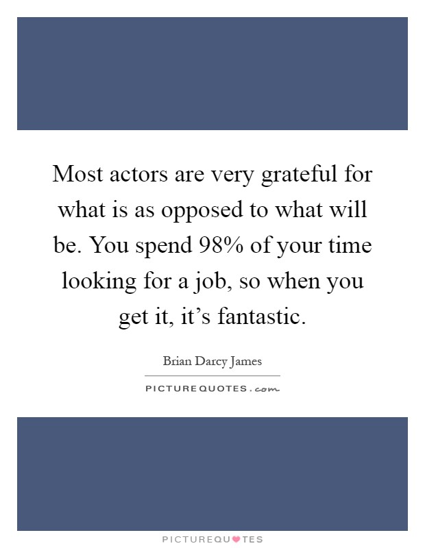 Most actors are very grateful for what is as opposed to what will be. You spend 98% of your time looking for a job, so when you get it, it's fantastic Picture Quote #1