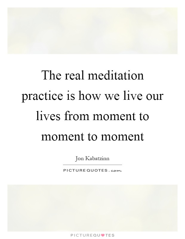 The real meditation practice is how we live our lives from moment to moment to moment Picture Quote #1