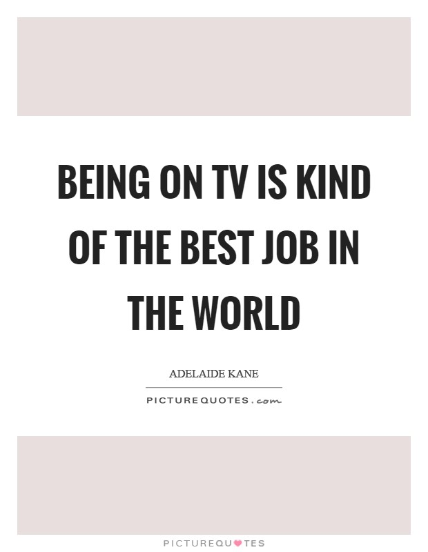 Being on TV is kind of the best job in the world Picture Quote #1