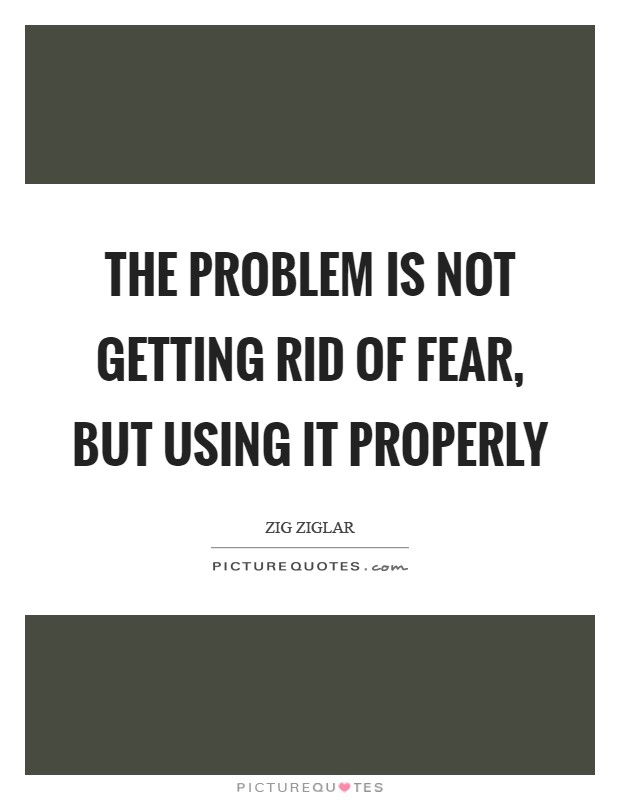 The problem is not getting rid of fear, but using it properly Picture Quote #1