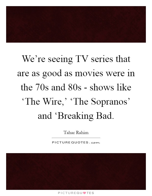 We're seeing TV series that are as good as movies were in the  70s and  80s - shows like 'The Wire,' 'The Sopranos' and 'Breaking Bad Picture Quote #1