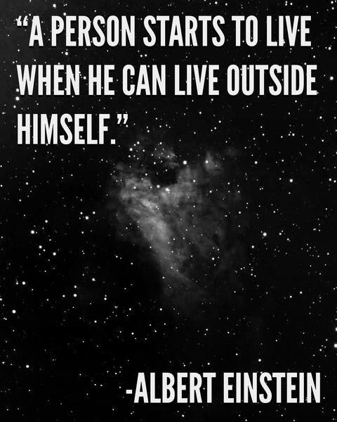 A person starts to live when he can live outside himself Picture Quote #1