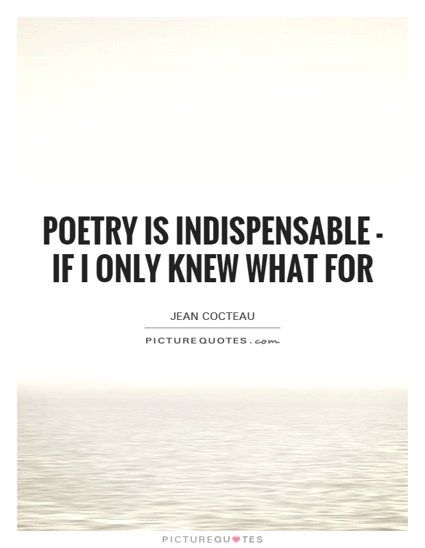 Poetry is indispensable - if I only knew what for Picture Quote #1