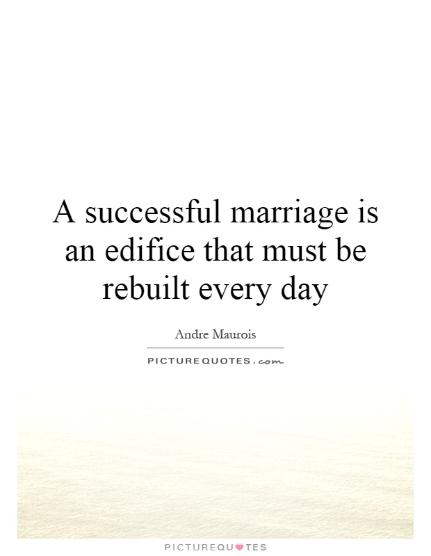 A successful marriage is an edifice that must be rebuilt every day Picture Quote #1