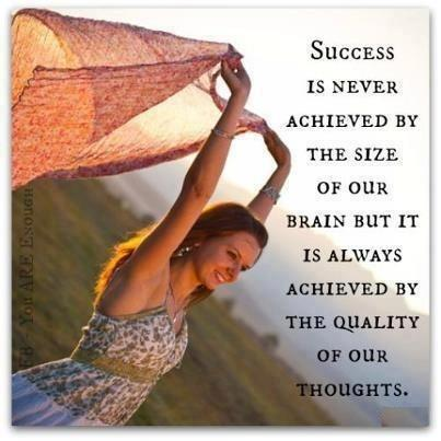 Success is never achieved by the size of our brain but it is always achieved by the quality of our thoughts Picture Quote #1