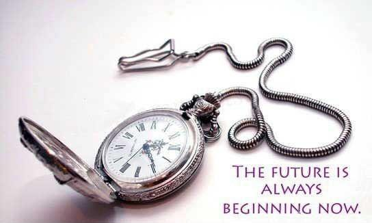 The future is always beginning now Picture Quote #1