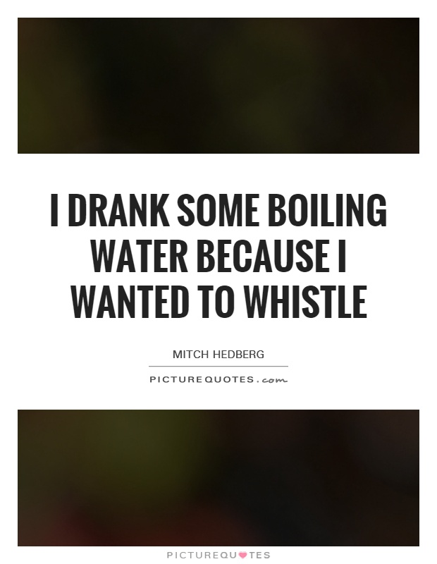 I drank some boiling water because I wanted to whistle Picture Quote #1