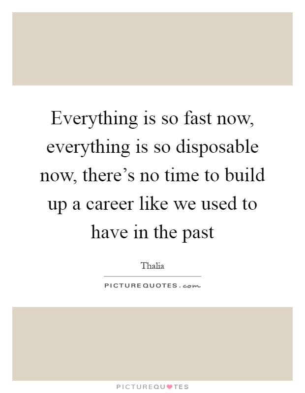 Everything is so fast now, everything is so disposable now, there's no time to build up a career like we used to have in the past Picture Quote #1