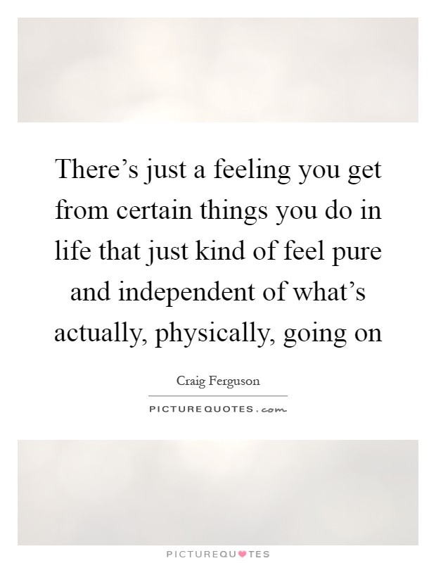 There's just a feeling you get from certain things you do in life that just kind of feel pure and independent of what's actually, physically, going on Picture Quote #1