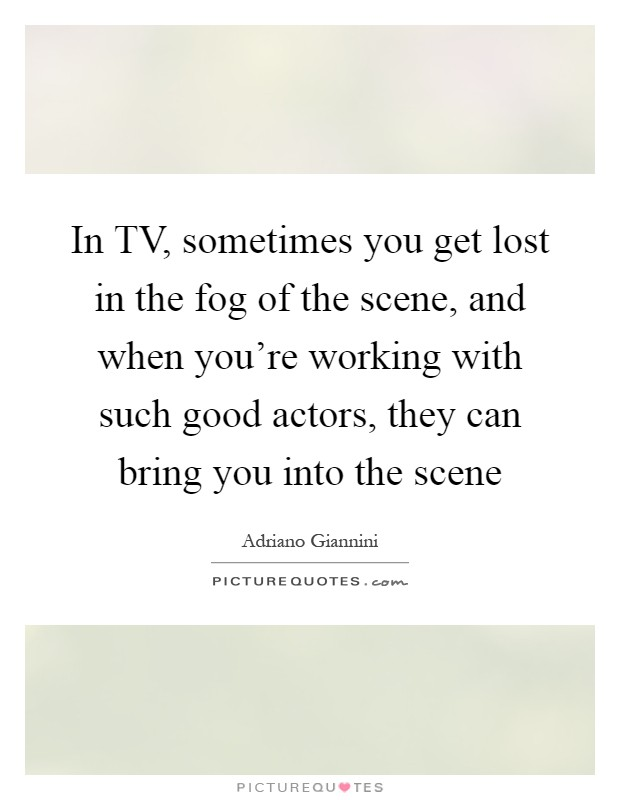 In TV, sometimes you get lost in the fog of the scene, and when you're working with such good actors, they can bring you into the scene Picture Quote #1