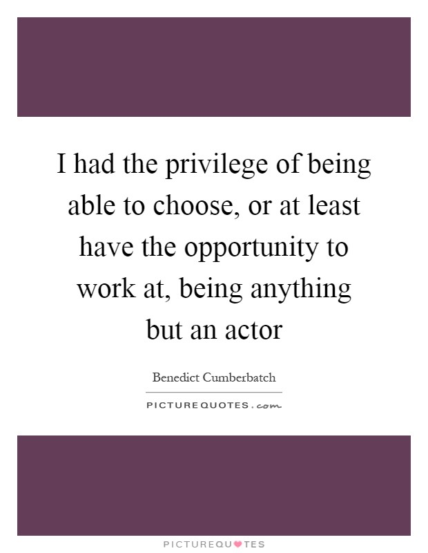 I had the privilege of being able to choose, or at least have the opportunity to work at, being anything but an actor Picture Quote #1