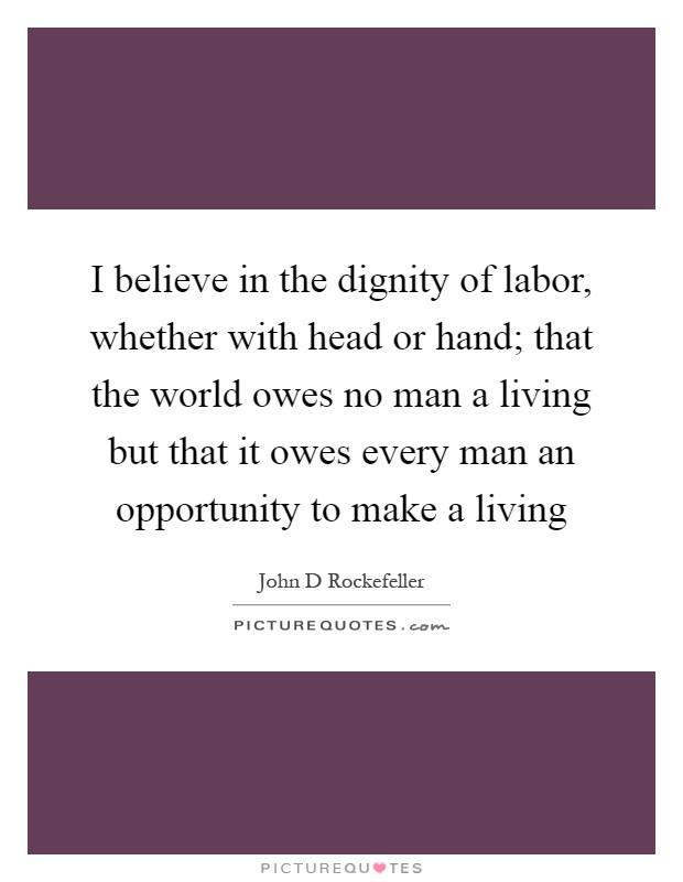 dignity essay hand labor