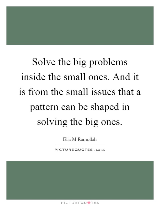 Solve the big problems inside the small ones. And it is from the small issues that a pattern can be shaped in solving the big ones Picture Quote #1