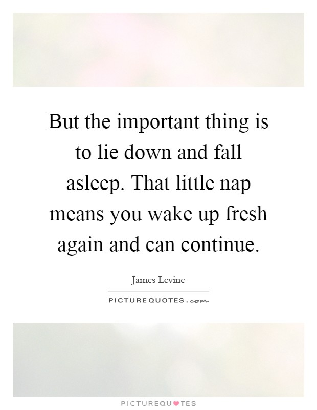 But the important thing is to lie down and fall asleep. That little nap means you wake up fresh again and can continue Picture Quote #1