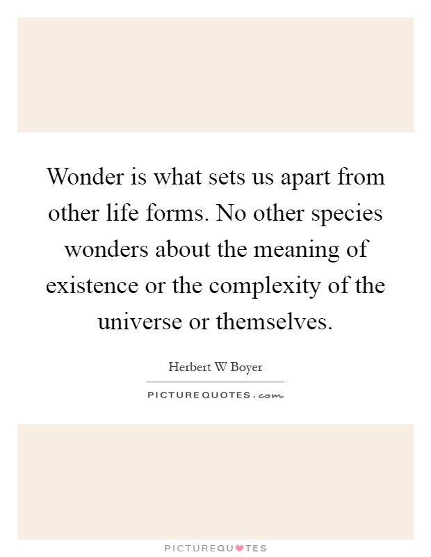 Wonder is what sets us apart from other life forms. No other species wonders about the meaning of existence or the complexity of the universe or themselves Picture Quote #1