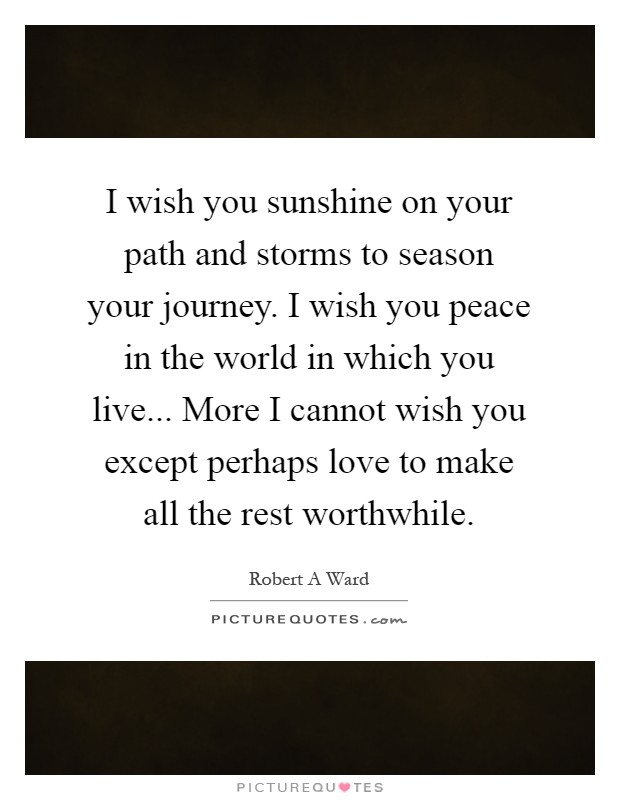 I wish you sunshine on your path and storms to season your journey. I wish you peace in the world in which you live... More I cannot wish you except perhaps love to make all the rest worthwhile Picture Quote #1