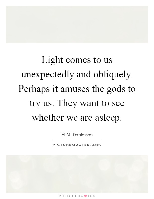 Light comes to us unexpectedly and obliquely. Perhaps it amuses the gods to try us. They want to see whether we are asleep Picture Quote #1