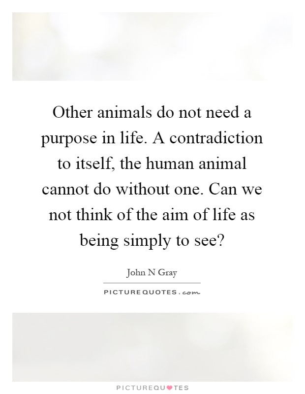 Other animals do not need a purpose in life. A contradiction to itself, the human animal cannot do without one. Can we not think of the aim of life as being simply to see? Picture Quote #1