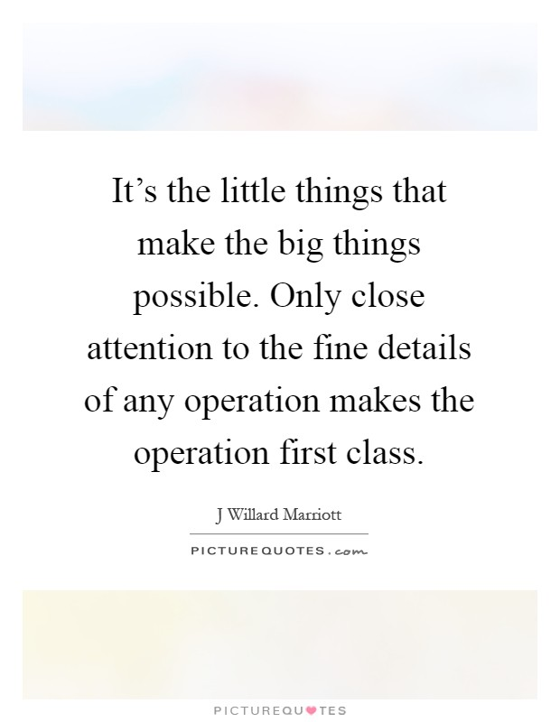 It's the little things that make the big things possible. Only close attention to the fine details of any operation makes the operation first class Picture Quote #1