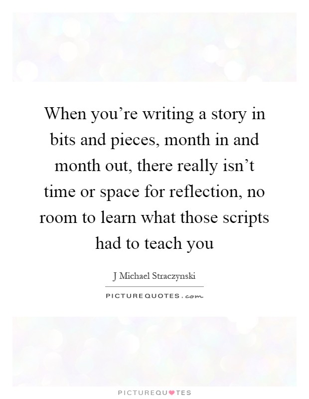 When you're writing a story in bits and pieces, month in and month out, there really isn't time or space for reflection, no room to learn what those scripts had to teach you Picture Quote #1