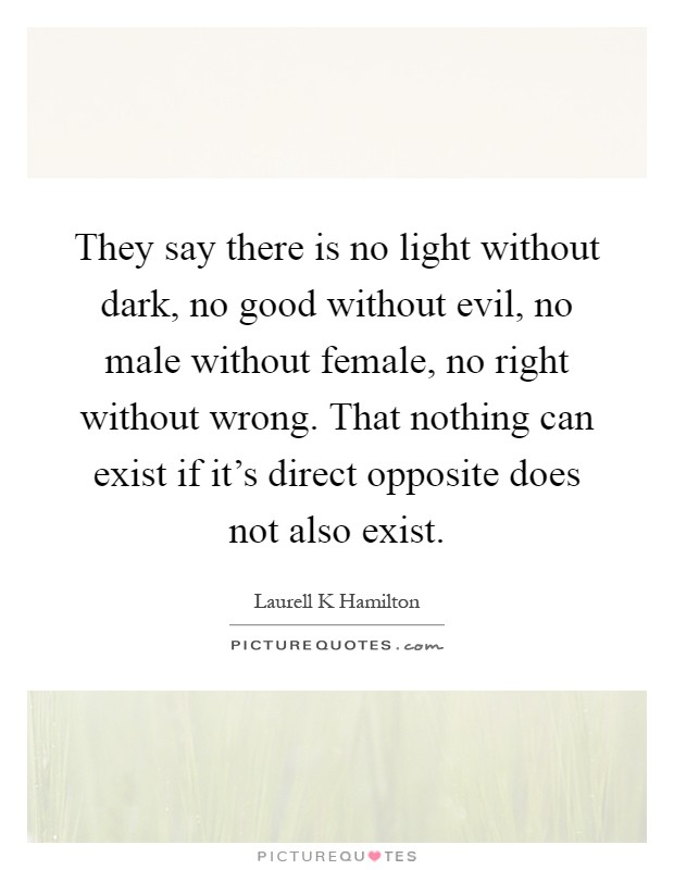 They Say There Is No Light Without Dark Good Evil Male Female Right Wrong That Nothing Can Exist If Its Direct