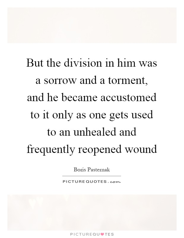But the division in him was a sorrow and a torment, and he became accustomed to it only as one gets used to an unhealed and frequently reopened wound Picture Quote #1