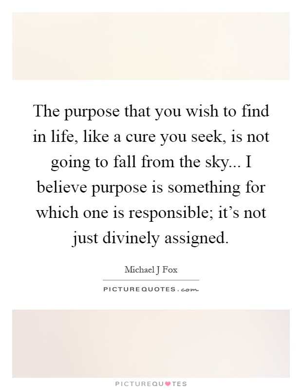 The purpose that you wish to find in life, like a cure you seek, is not going to fall from the sky... I believe purpose is something for which one is responsible; it's not just divinely assigned Picture Quote #1