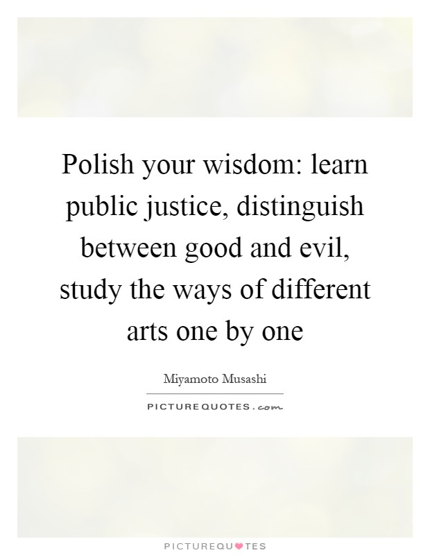 Polish your wisdom: learn public justice, distinguish between good and evil, study the ways of different arts one by one Picture Quote #1