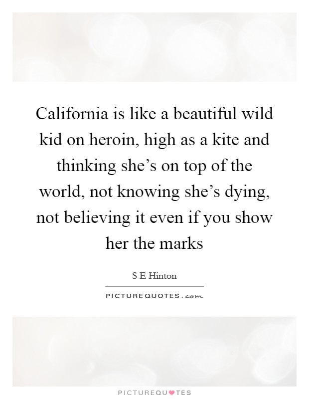 California is like a beautiful wild kid on heroin, high as a kite and thinking she's on top of the world, not knowing she's dying, not believing it even if you show her the marks Picture Quote #1