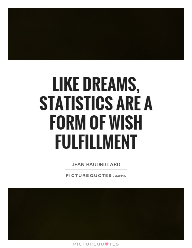 Like dreams, statistics are a form of wish fulfillment Picture Quote #1